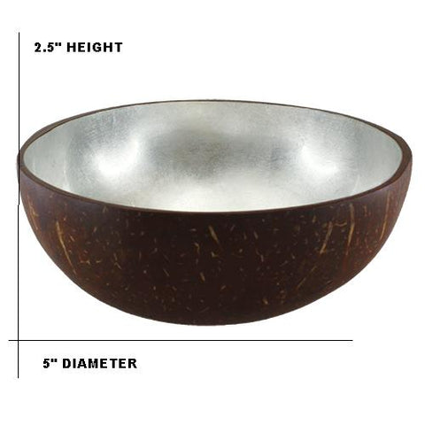 "NATURAL COCONUT BOWL 5""DIA X 2.5"" H Silver"