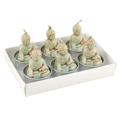 "WITNESS BUDDHA TEA LIGHTS JADE GLAZE 6 Piece Set 2""H"