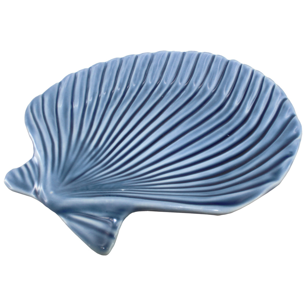 "CLAM SHELL PORCELAIN TRAY BLUE  3.5 x 3.75 x .625""H"