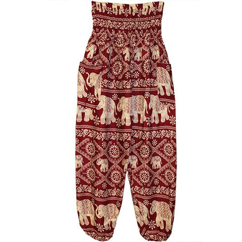 "HAREM PANTS ELEPHANTS MAROON W/POCKETS 1SIZE FITS ALL 40""L"