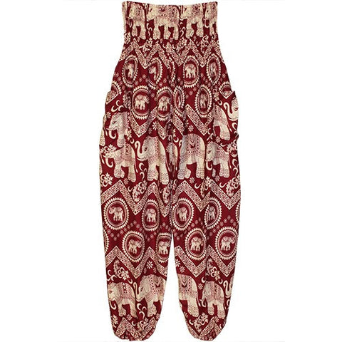 "HAREM PANTS ELEPHANT WINE/ECRU/POCKETS 1SIZE FITS ALL 40""L"