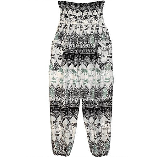 "HAREM PANTS ELEPHANTS/GRN/POCKET 1 SIZE FITS ALL 40""L"