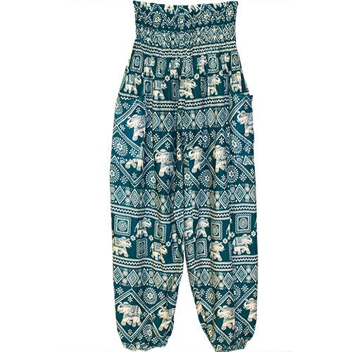 "HAREM PANTS ELEPHANT CYAN/ECRU/POCKETS 1SIZE FITS ALL 40""L"