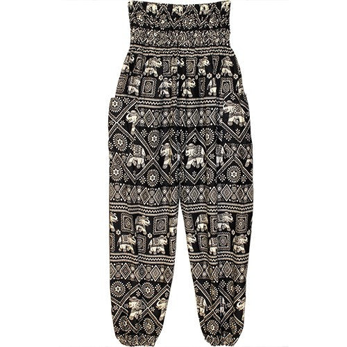 "HAREM PANTS ELEPHANT BLK/WHT/POCKETS 1SIZE FITS ALL 40""L"
