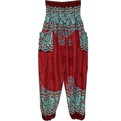 "HAREM PANTS MEDALLION TRQS/RED/POCKETS 1SIZE FITS ALL 40""L"