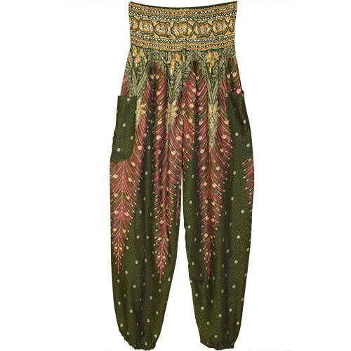 "HAREM PANTS PEACOCK BLK/PNK/POCKETS 1SIZE FITS ALL 40""L"