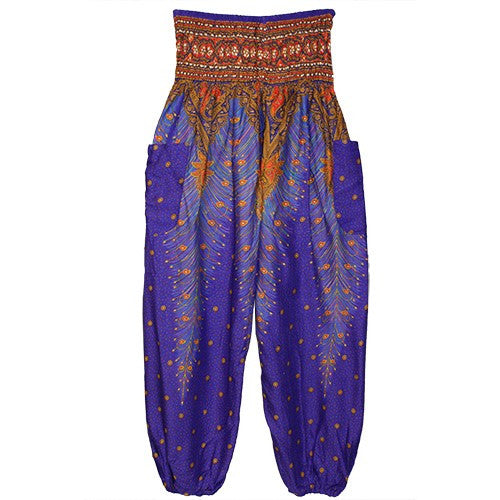"HAREM PANTS FEATHER PURPLE/GOLD/POCKETS 1SIZE FITS ALL 40""L"