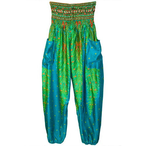 "HAREM PANTS PEACOCK TEAL/GRN/POCKETS 1SIZE FITS ALL 40""L"