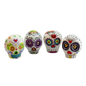 Set of 4 Sugar Skull Hand Painted Ornament
