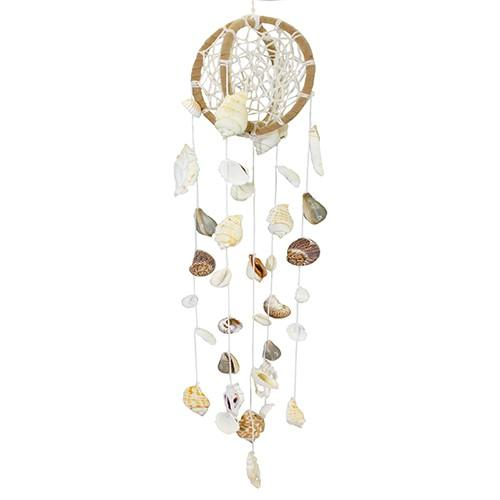 "Globe Dream Catcher with Shells 3.125"" x 20""L + 4"" hanger"