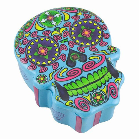 "SUGAR SKULL BOX BLUE 3.25x4x1.38""h"