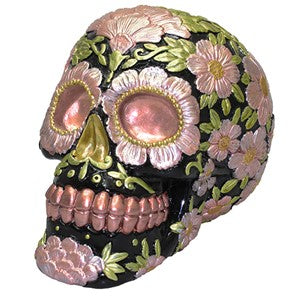 SUGAR SKULL COIN BANK METALLIC COPPER AND PINK