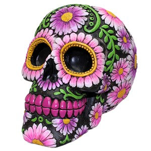 "SUGAR SKULL COIN BANK PURPLE DAISY 3.875x5.75x4.25""H"