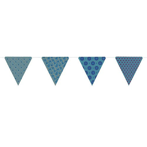 PAPER TRIANGLE BUNTING ASSORTED COLORS 8x7.75x10'L (Floral Mosaic)
