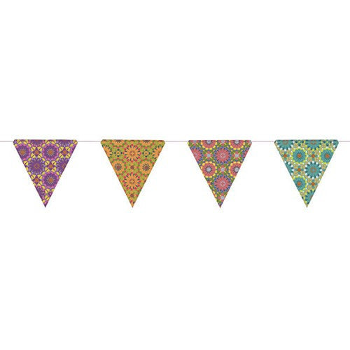 PAPER TRIANGLE BUNTING ASSORTED COLORS 8x7.75x10'L (Purple)
