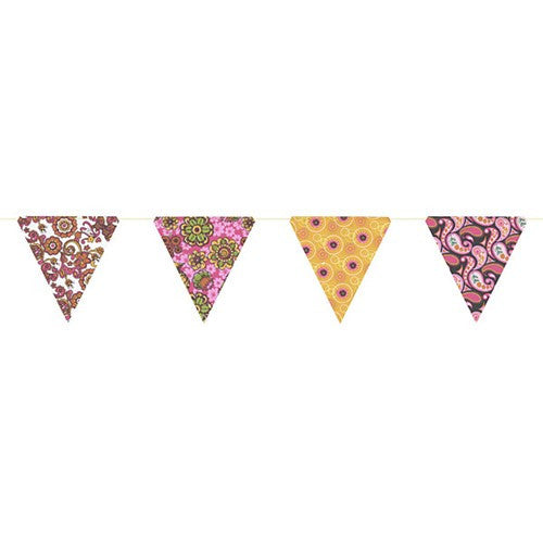 PAPER TRIANGLE BUNTING ASSORTED COLORS 8x7.75x10'L (Pink)
