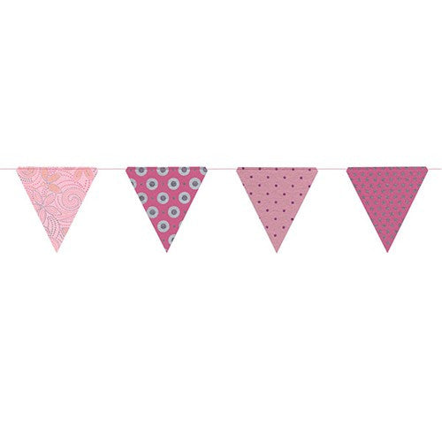 PAPER TRIANGLE BUNTING PINK GLITTER 8x7.75x10'