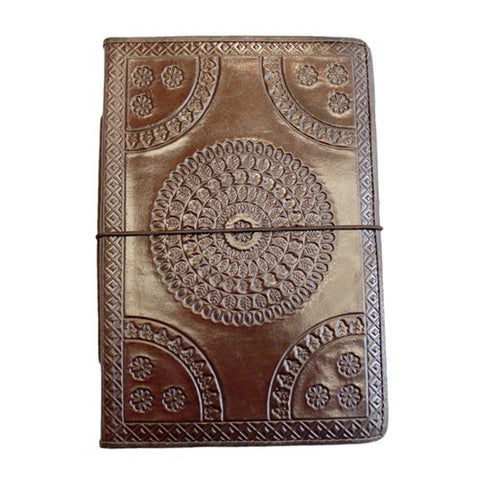 "EMBOSSED MEDALLION LEATHER JOURNAL BROWN 4x.75x6""h"