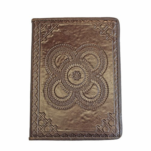 "EMBOSSED DOUBLE MEDALLION LEATHER JOURNAL 5x.625X7""H (Dark Brown)"