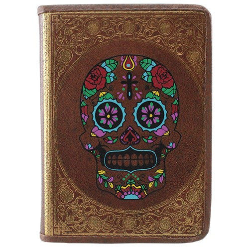 "GOLD EMBOSSED BROWN LEATHER SKULL JOURNAL N/P 3.625x.75x5""L"