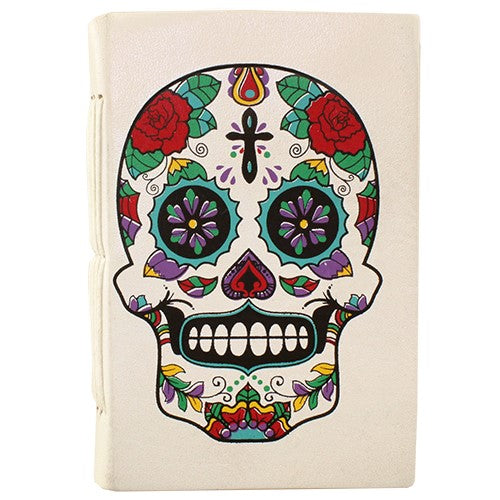 "SUGAR SKULL WHITE LEATHER JOURNAL NATL PAPER  5x.75x7""L"