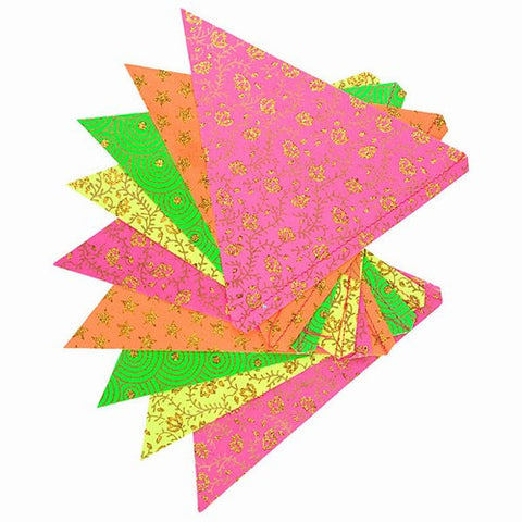 PAPER TRIANGLE BUNTING ASSORTED COLORS 8x7.75x10'L (Multi Colored Floral)