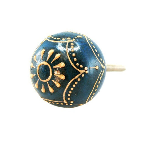 "FAUX BONE BLUE AND GOLD PAISLEY KNOB 1.625x1.25"" +Screw"