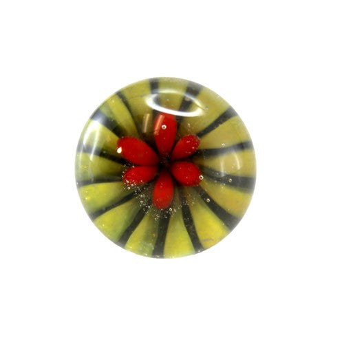 "DAISY CLEAR GLASS KNOB 1.125d x 1.5"" + screw (4, Yellow)"