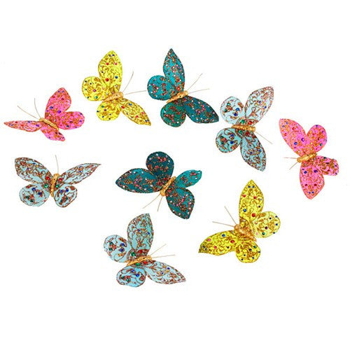 "ROYAL JEWELS WITH GLITTER BUTTERFLY GARLAND 3.5x78""h"