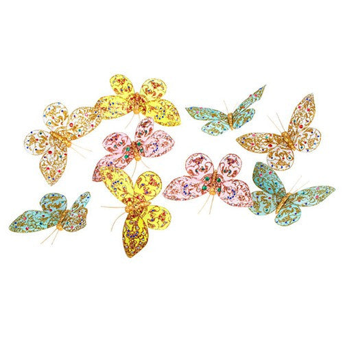 "MULTI COLOR GLITTER BUTTERFLY GARLAND 4x78""h"