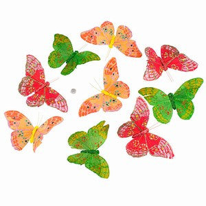 "OLIVE & GLITTER BUTTERFLY GARLAND 6x3x78""H"