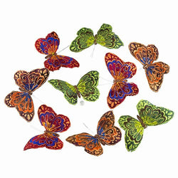 "BLUE OLIVE BROWN BUTTERFLY GARLAND 5.75x3x78""H"