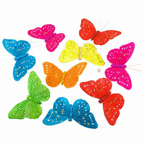 "JUMBO FALL MESH BUTTERFLY GARLAND 9PC 6.5x4.5x78""l"