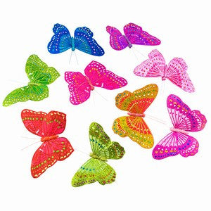PASTEL MULTI COLORED GLITTERED BUTTERFLY GARLAND 3.75x78""
