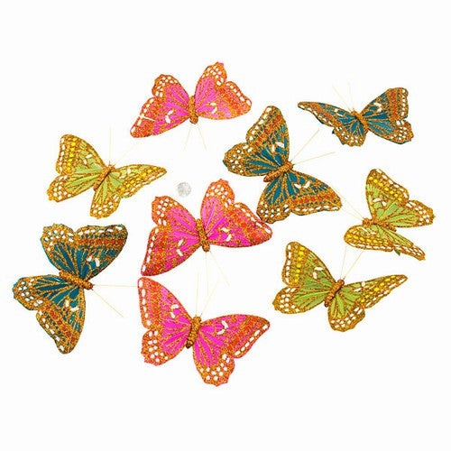 "SPRING LIGHTS GLITTER BUTTERFLY GARLAND 5x3.75x78""H"
