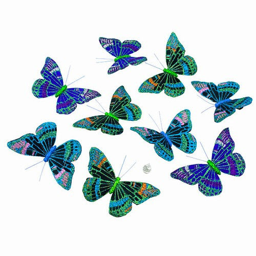 "PURPLE GREEN BUTTERFLY GARLAND 5.25x3x78""l"