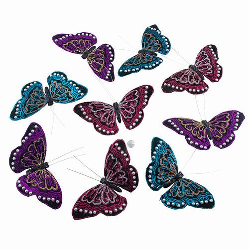 Midnight Glitter Pearl Butterfly Garland