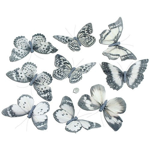 "PALE WHITE W/BLACK BUTTERFLY GARLAND 5x2.5x78""l"