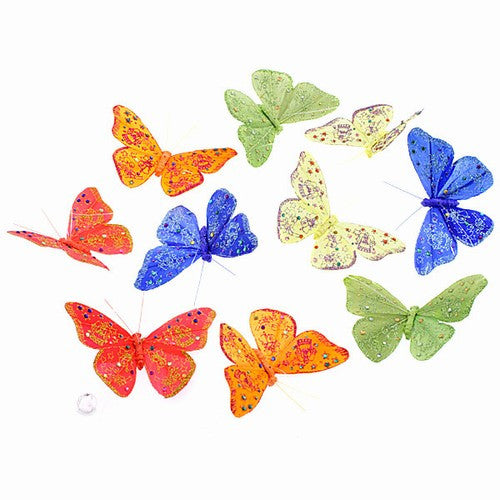 "VINEYARD MIDNIGHT GLITTERED BUTTERFLY GARLAND 3.5x78""h"