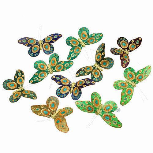 "PEACOCK GREEN GLITTER BUTTERFLY GARLAND 6.5x78""h"
