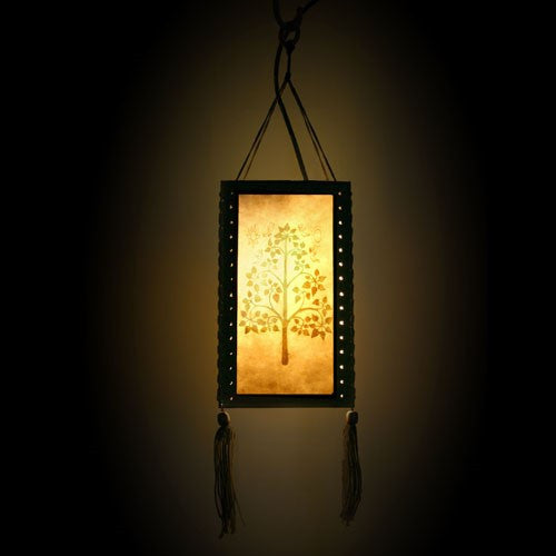 Wood and Paper Hanging Lampshade (Blossom Tree)