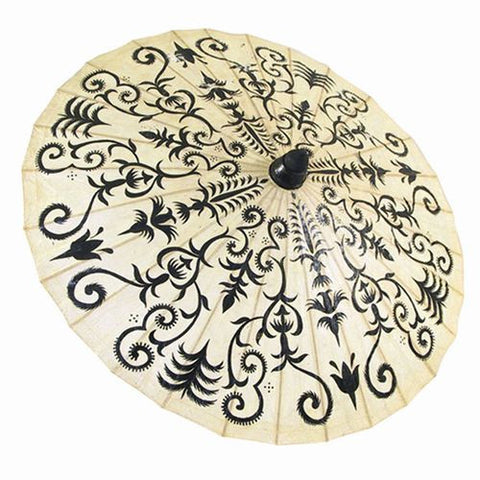 "HAND PAINTED PARASOL HENNA FLORAL  33""D"