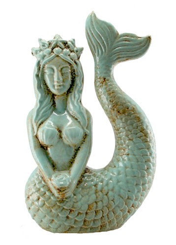 "LENA MERMAID STATUE ANTIQUE BLUE 6.5x3.5x10.5""h"