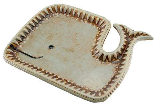 "WYLIE THE WHALE TRAY BROWN CERAMIC 8.5x.75x6""H"