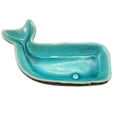 Teal Ceramic Whale Tray
