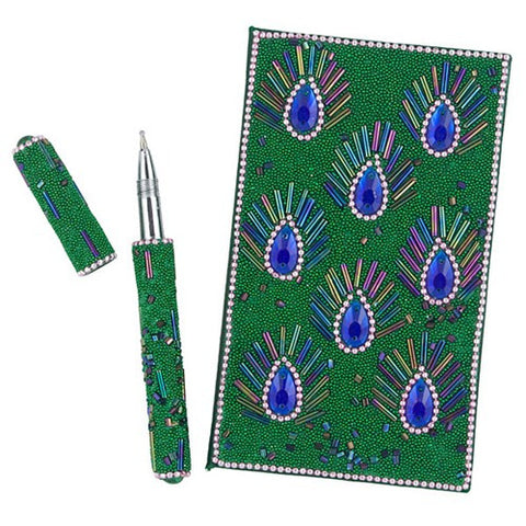 "BEADED PEACOCK EYE NOTEBK AND PEN 3.25 x 5.375""h"