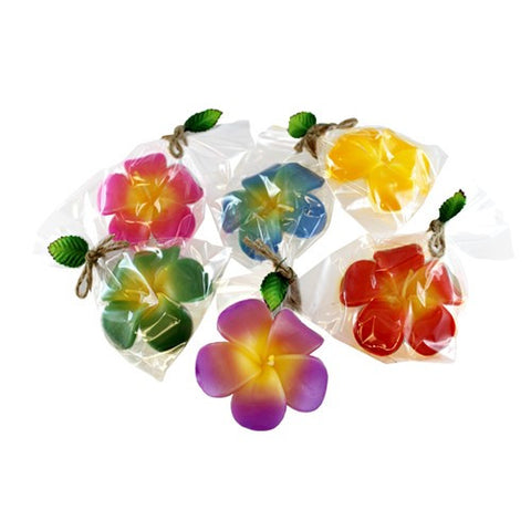 HIBISCUS FLOATING CANDLES 6 PIECE SET 3x1X3.25""