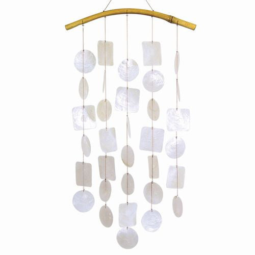 Capiz Shells Wind Chimes 24 Inch White Circles Squares with Bamboo Arch