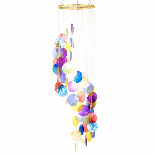 "31.5"" Long Rainbow Spiral Capiz Chime Windchime New"