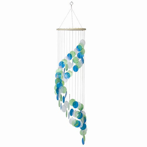 "Beautiful Ocean Capiz Windchime Turquoise Green White 42""H"